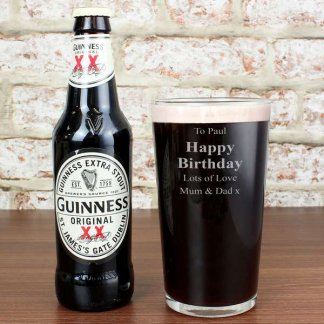Guinness and Personalised Beer Glass Gift Set